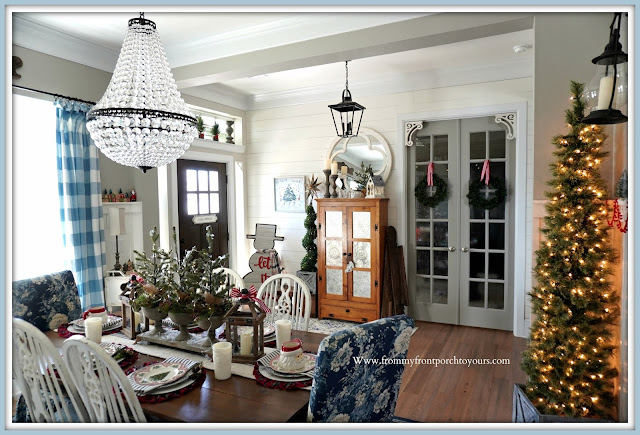 Cottage -Farmhouse- Christmas- Foyer-Buffalo Check-Curtains-Mia-Chandelier-Pottery Barn-Pie Safe-French Country-Chairs-From My Front Porch To Yours