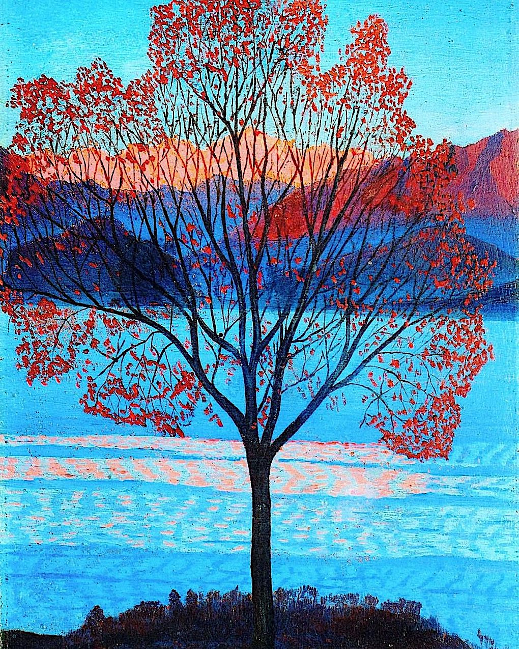 a Luigi Russolo 1940 painting of a tree with rd leaves