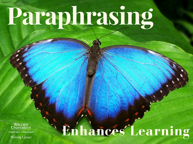 "The words ""Paraphrasing Enhances Learning"" imposed over a blue butterfly"