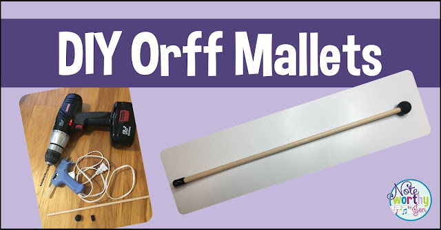 Blog header DIY Orff Mallets with picture of supplies and finished mallet