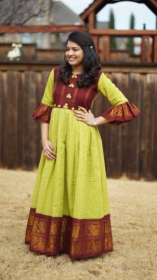 Convert Old Sarees To Into Long Gowns Sparkling Fashion