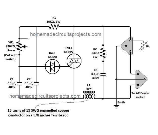 triac based lamp controller circuit
