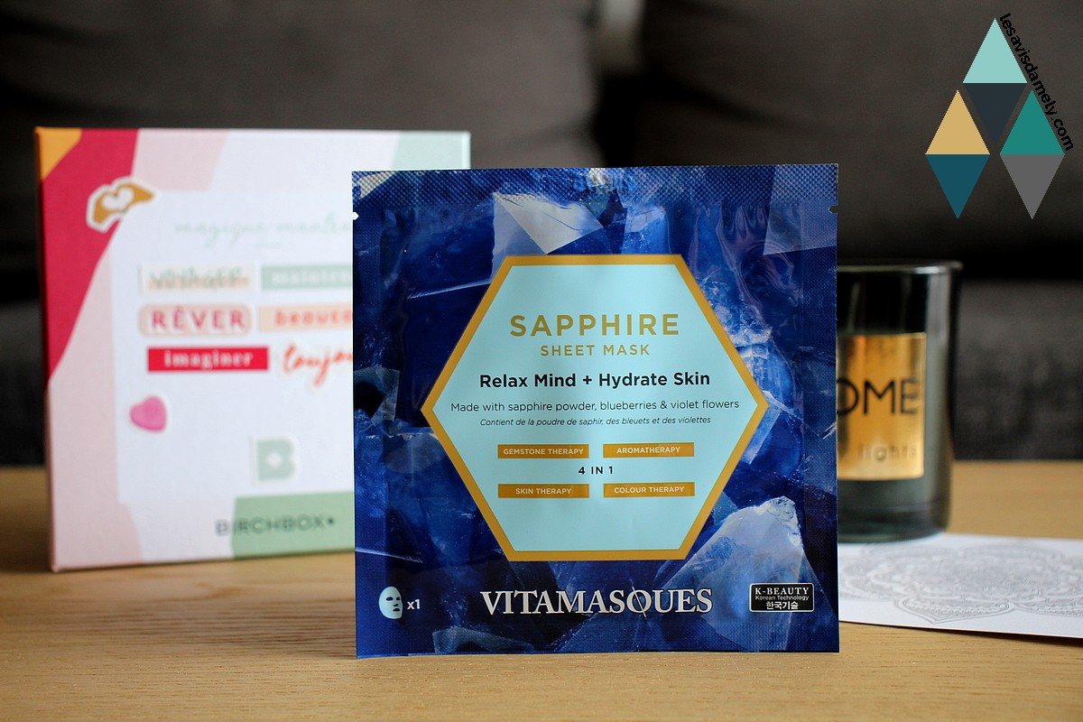 avis test masque relaxant hydratant Sapphire Vitamasques