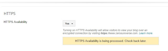 Under HTTPS Availability check yes.