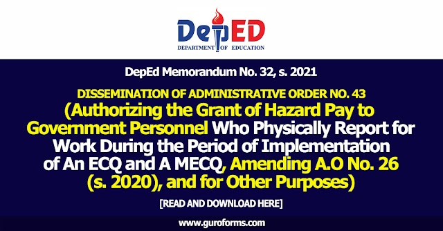 DepEd Memorandum No. 32, s. 2021