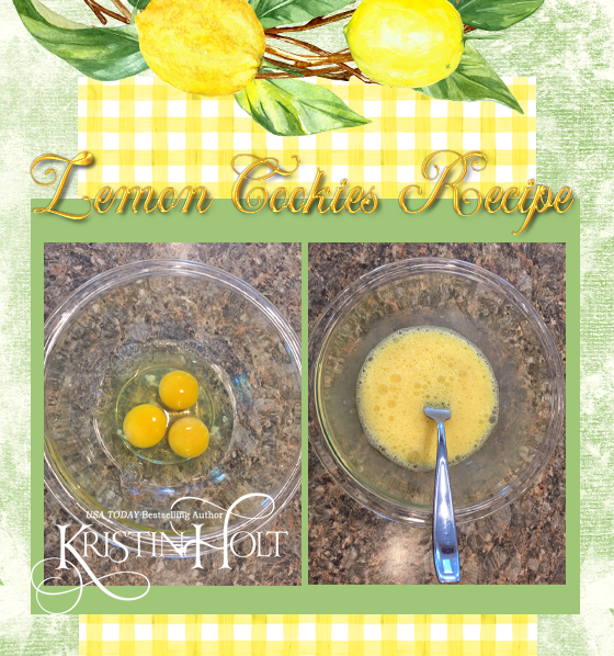 Kristin Holt | Lemon Cookies Recipe (1895) Step 3: Whip eggs briskly with a fork until light and bubbly.