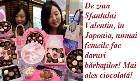 De ziua Sfantului Valentin, în Japonia, numai femeile fac daruri bărbaţilor! Mai ales ciocolată!
