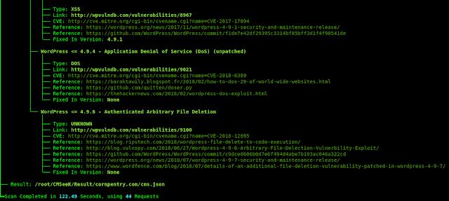 cmseek kali linux complete scan