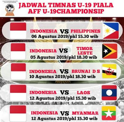 Jadwal Timnas Indonesia U-19 di Piala AFF U-19 2019 Vietnam.