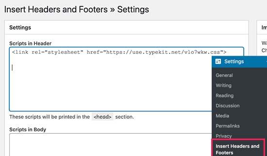 Adding typetkit by adobe font in wordpress