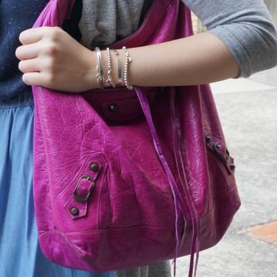 vintage Balenciaga Day bag in 2005 magenta RH tassels | AwayFromTheBlue