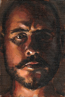 Oil painting of the face of a man with a beard in dramatic lighting.