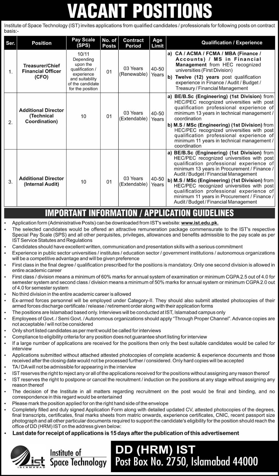 Institute of Space Technology IST Management Posts Islamabad 2019