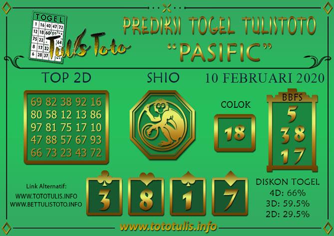 Prediksi Togel PASIFIC TULISTOTO 10 FEBRUARI 2020