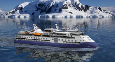 Artists Rendering of Vantage Cruise Line's Ocean Explorer to Sail World Wide Making a Call in New York City