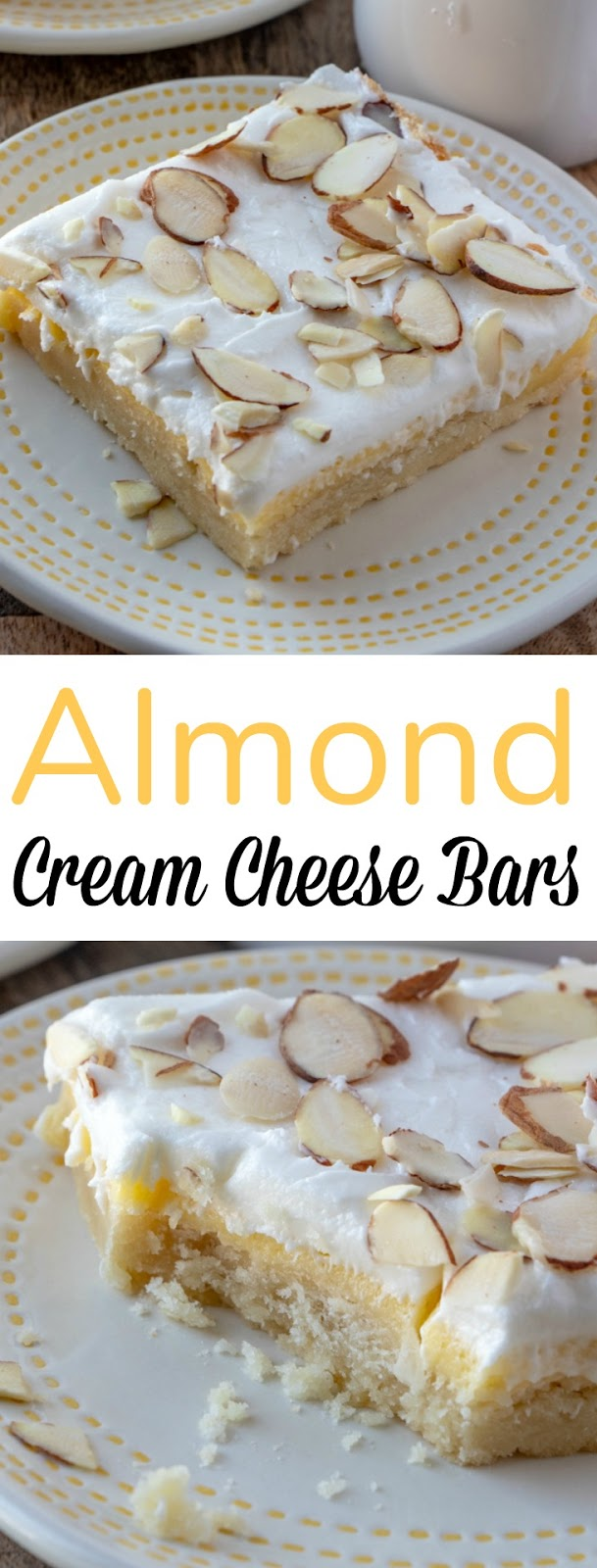 Creamy, sweet and delicious, these almond bars with a shortbread crust are pretty much perfection! Great for the holidays, game day parties, potlucks or dessert!
