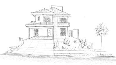 Perspectiva da fachada feita a mão livre, quando a ponta da lapiseira se comunica com a mente do arquiteto através de seu braço, antes do projeto sair da fase de estudos para a elaboração da versão definitiva.