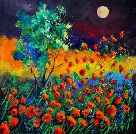 Papoulas Vermelhas - Cores fortes e vibrantes nas pinturas de Pol Ledent