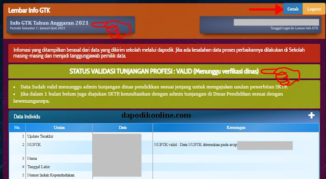 Status Validasi Tunjangan Profesi sudah VALID_Menunggu verifikasi dinas