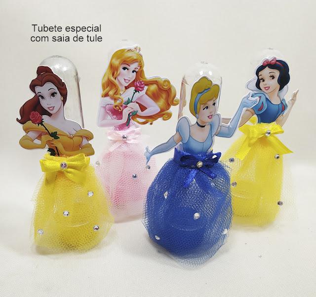 Tubete com saia de Tule As Princesas  Disney dicas e ideias para decoração de festa personalizados