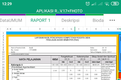 Aplikasi Excel Raport K13 MI