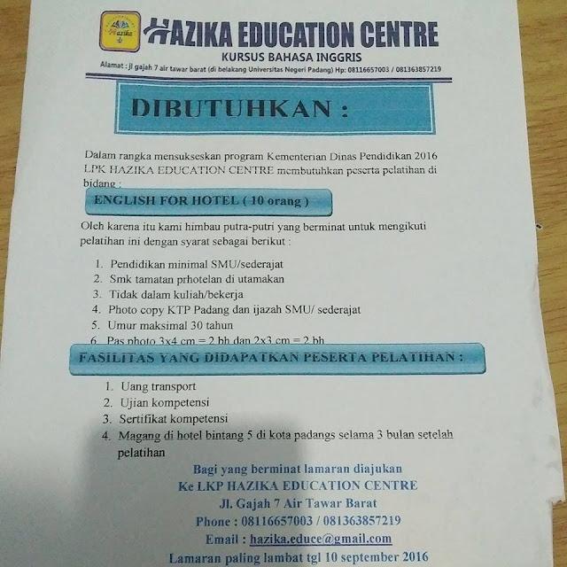 Lowongan Kerja di Padang – Hazika Education Centre – English For Hotel (10 Orang)