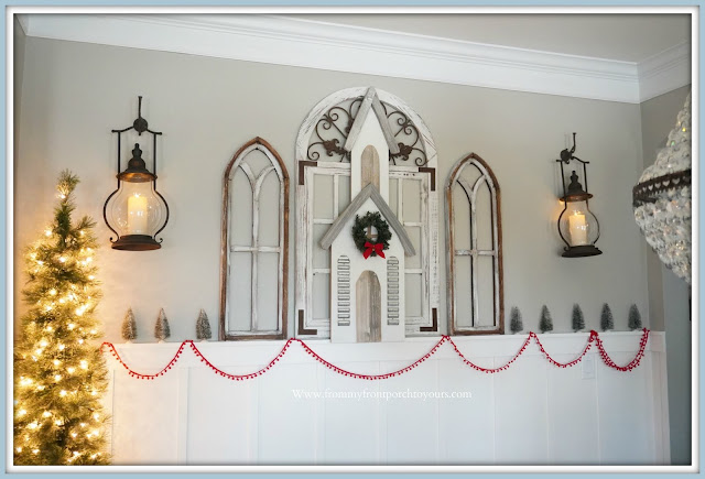 Cottage -Farmhouse -Christmas- Dining- Room -Carriage House-Lanterns-Decor Steals-Wooden-Wall Church-Faux-Cathedral-Windows--From My Front Porch To Yours
