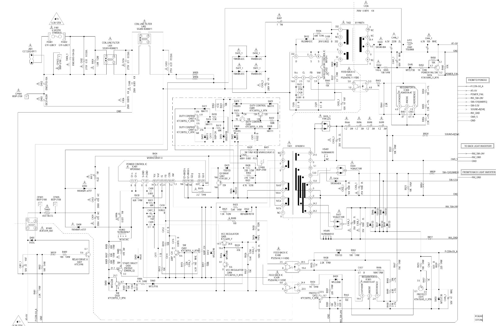 rca tv schematic diagram wiring diagram for you rca l32wd26d lcd tv main power sub power [ 1600 x 1052 Pixel ]