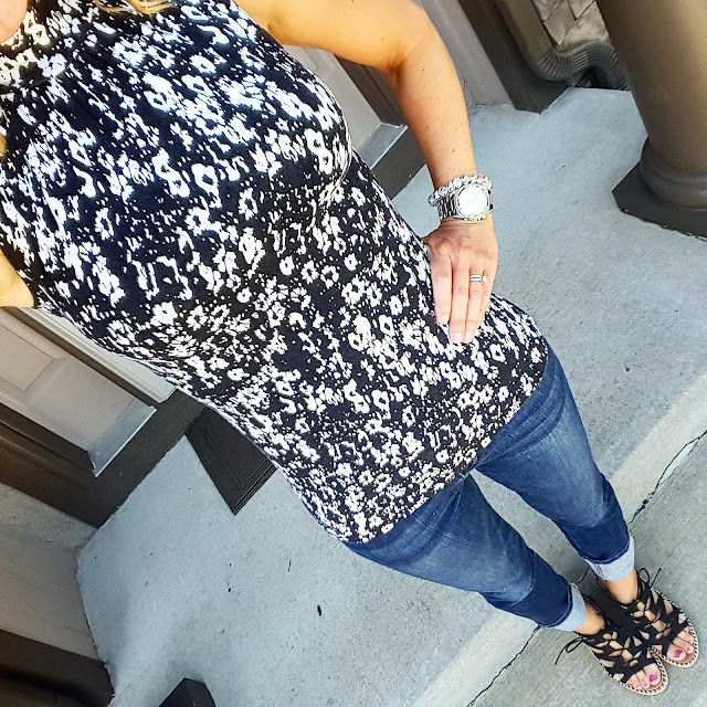 Express Sleeveless Mock Top (similar) // Joe's Jeans Cuffed Cropped - 55% off! // Sugar Hunnies Wedge Sandals - on sale for $40 // Michael Kors Runway Watch