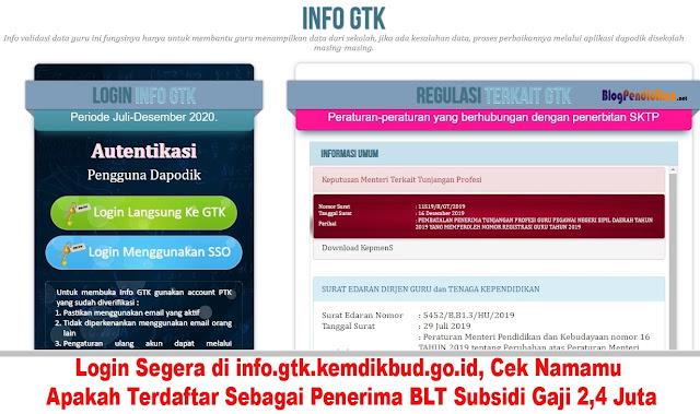 Login Segera di info.gtk.kemdikbud.go.id, Cek Namamu Apakah Terdaftar Sebagai Penerima BLT Subsidi Gaji 2,4 Juta
