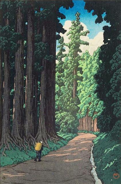群馬の秘湯、法師温泉!昭和8年に描かれた新版画から全く変わっていない風景【a】 日光街道 杉並木
