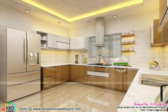 Foyer Plan Kerala : Dining kitchen and foyer interiors kerala home design