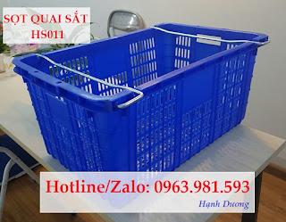 Sọt quai sắt HS011, thùng nhựa rỗng HS011, sóng nhựa rỗng HS011