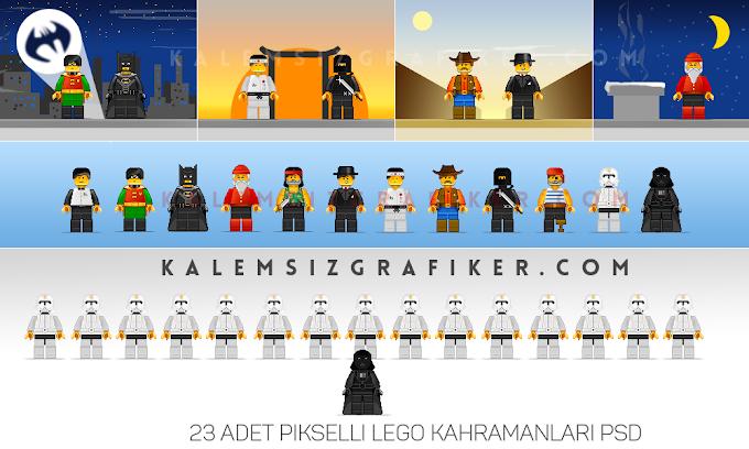 23 Adet Pixels Lego Kahramanları PSD