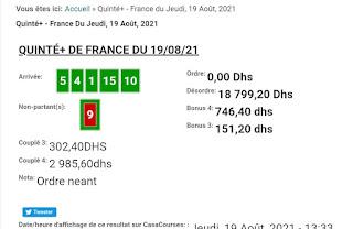 Arrivée DE AGENU 19/08/2021 Tiercé et Quinté