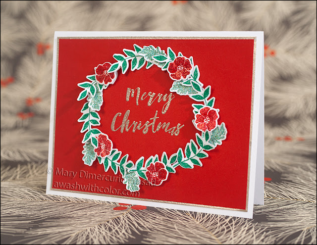 Rubbernecker Stamps Ranger Embossed Holiday Wreath Card