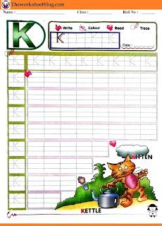 Alphabet K tracing worksheet