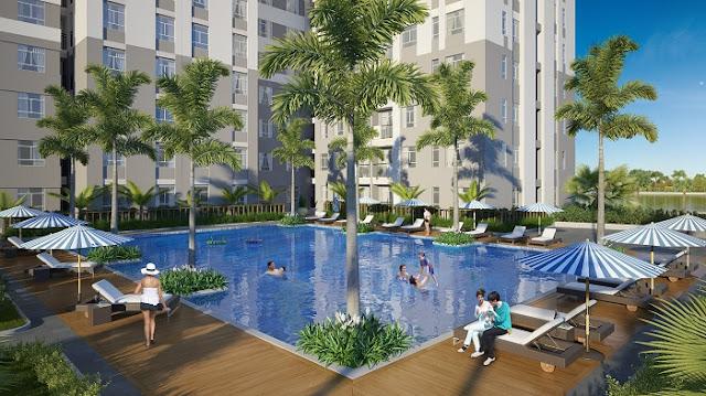 Hồ bơi tại dự án Masteri Villas.
