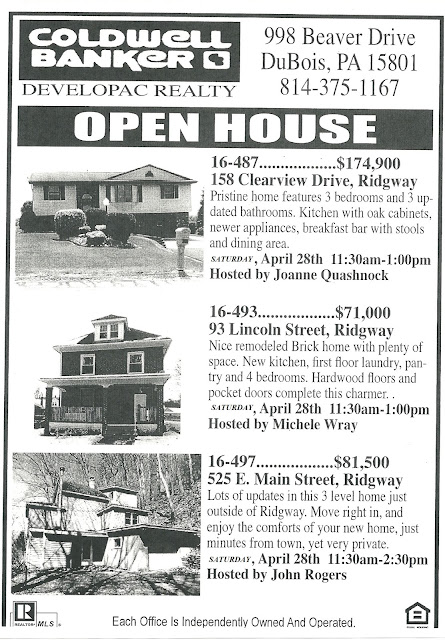 Ridgway chainsaw carvers rendezvous open house coldwell banker developac realty 158 Clearview Drive. 93 Lincoln Street. 525 E. Main Street 15853