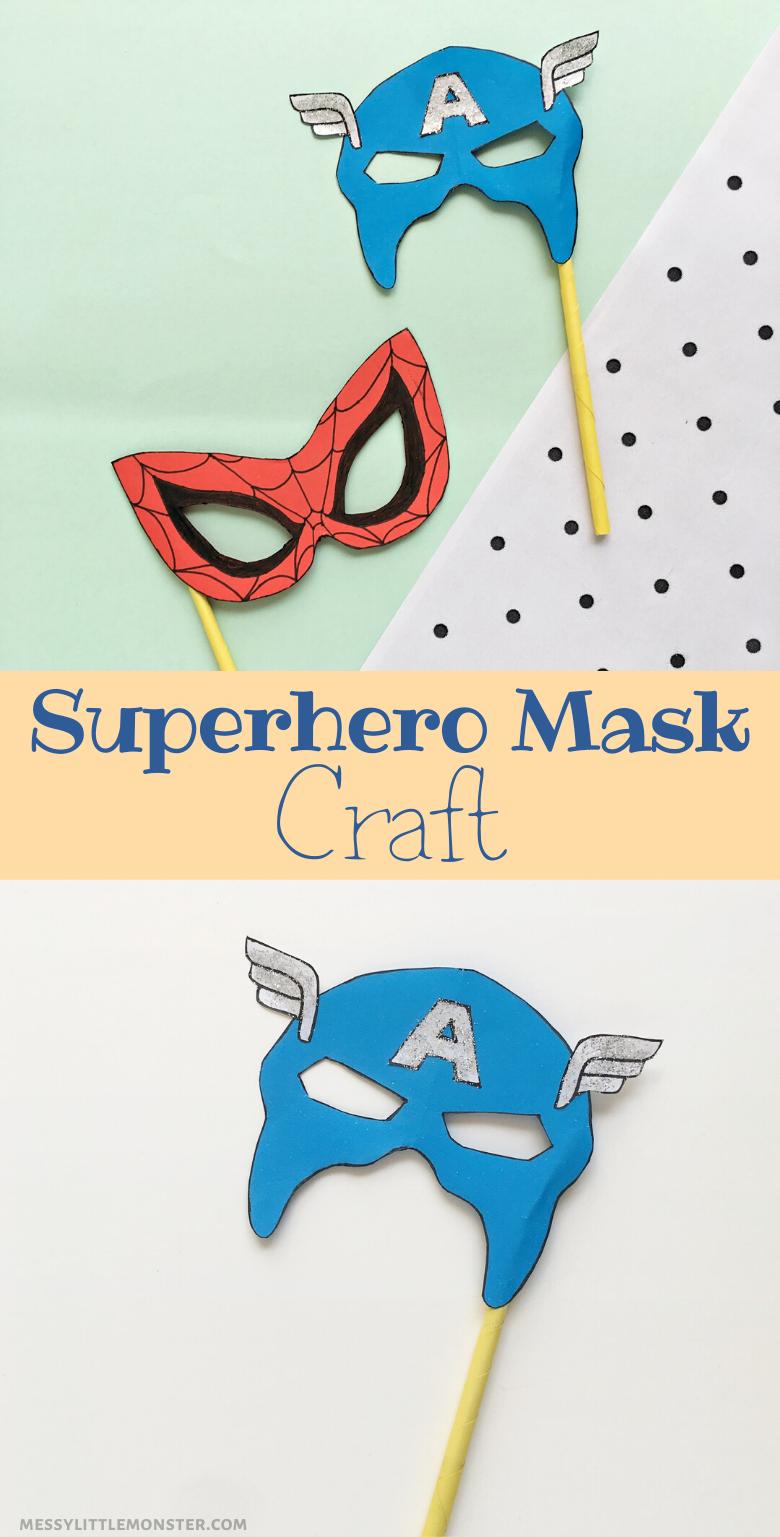 Superhero mask craft. Easy superhero craft for kids. Spiderman Craft. Captain America Craft.