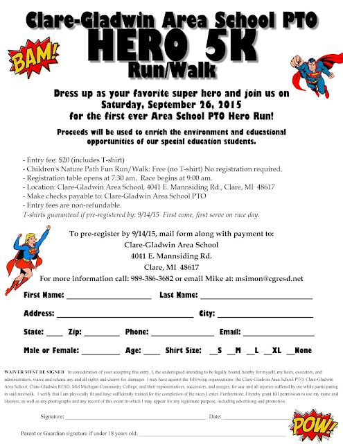 Clare-Gladwin Area School PTO to hold Hero 5K