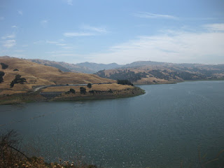 Calaveras Reservoir with golden, tree-studded hills, Alameda County, California