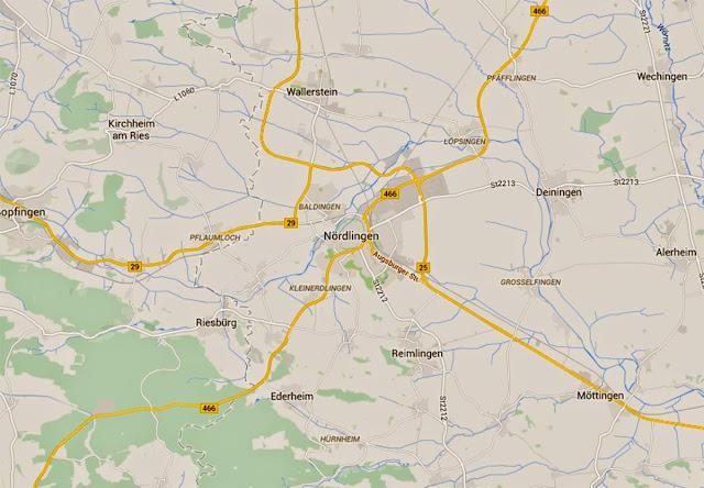 Mapa de Nordlingen - Alemanha