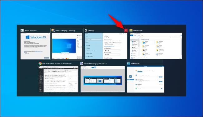 انقر فوق علامة X الحمراء لإغلاق نافذة في مفتاح Alt + Tab في نظام التشغيل Windows 10.