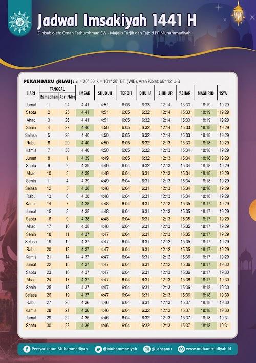 Free Download Jadwal Imsakiyah 1441 H Wilayah Kota Pekanbaru