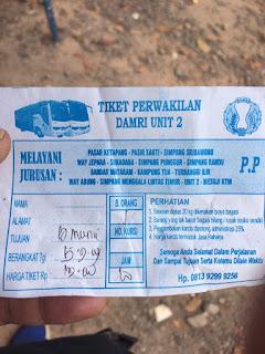 tiket Sang Perintis Jalur Unit 2 Tubaba ke Propau Lampura Lampung