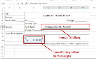 Rumus Terbilang Excel untuk kwitansi