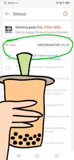 Informasi status pengiriman paket shopee