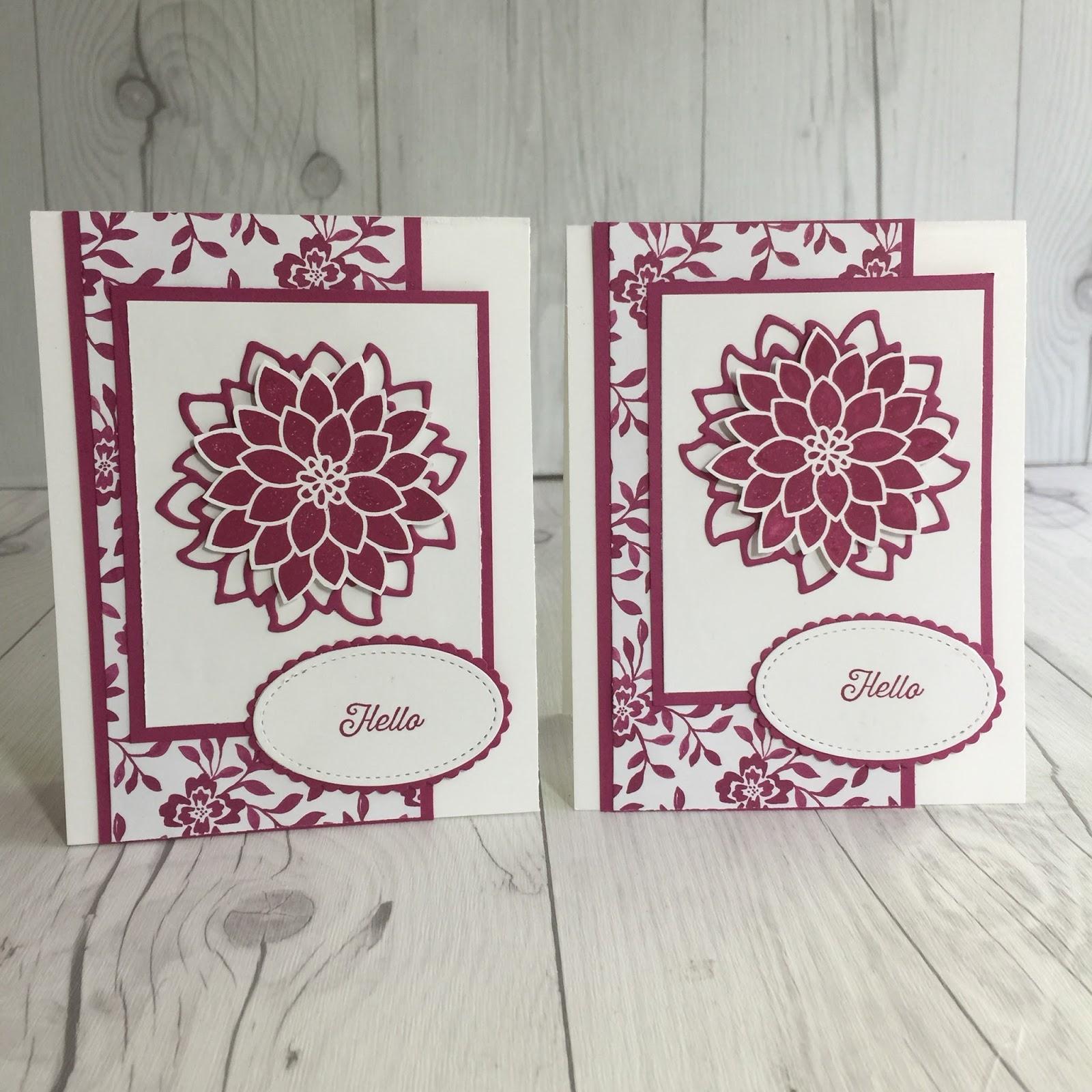 Stamped Sophisticates Flourishing Phrases Card Using Berry Burst