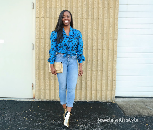 gold boots, gold booties, how to wear metallics, floral shirt, jewels with style, columbus ohio fashion blogger, black style blogger, black fashion blogger, columbus ohio personal stylist, ohio wardrobe stylist, columbus wardrobe stylist